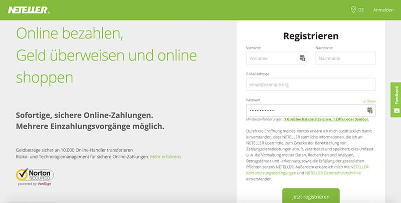 Neteller Registrieren