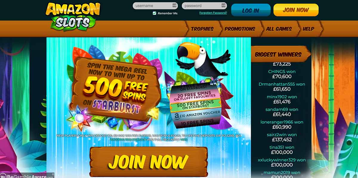 Amazon Slots Casino Review Homepage