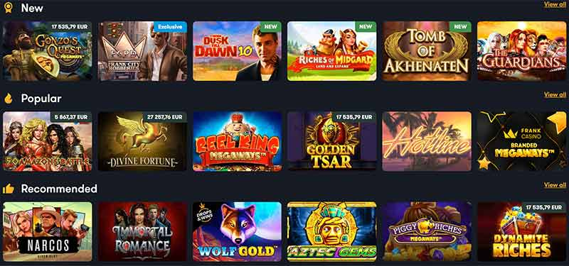 Frank Casino Game Selection