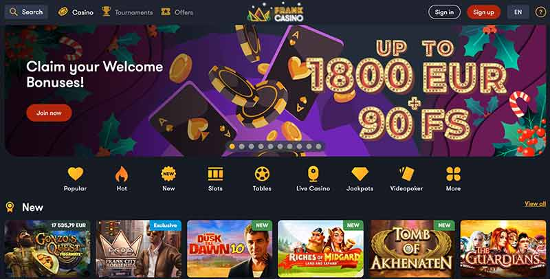 Frank Casino Welcome Offer
