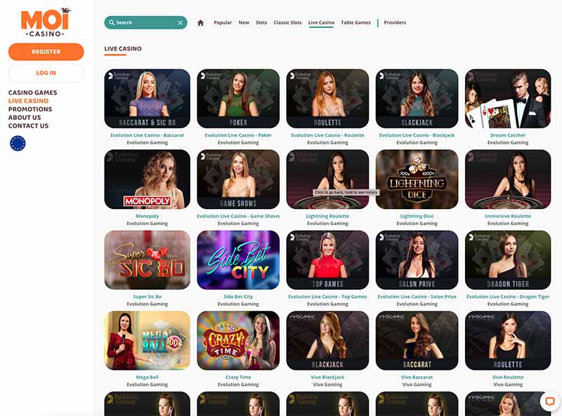 Live Casino Game selection at Moi Casino